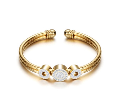 Stainless Steel 3 CZ Circle Gold Bangle