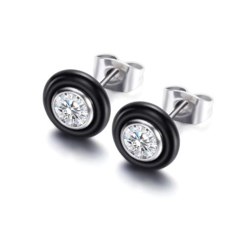 Bezel Black Stud Earrings