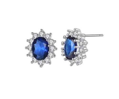 Blue Oval Sapphire Earrings