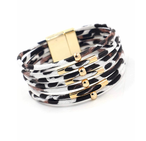 Leopard Magnetic Bracelet White