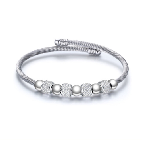 Stainless Steel Cable Wire Silver Bracelet