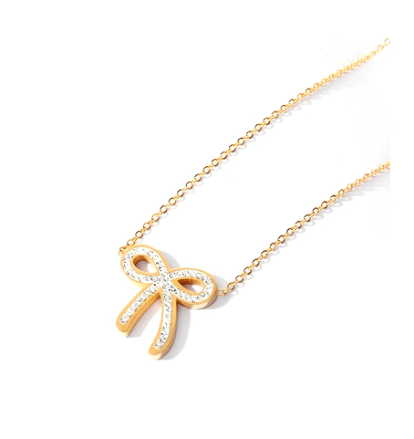Bow Pendant Cubic Zirconia Necklace