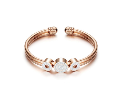 Stainless Steel 3 CZ Circle Rose Gold Bangle