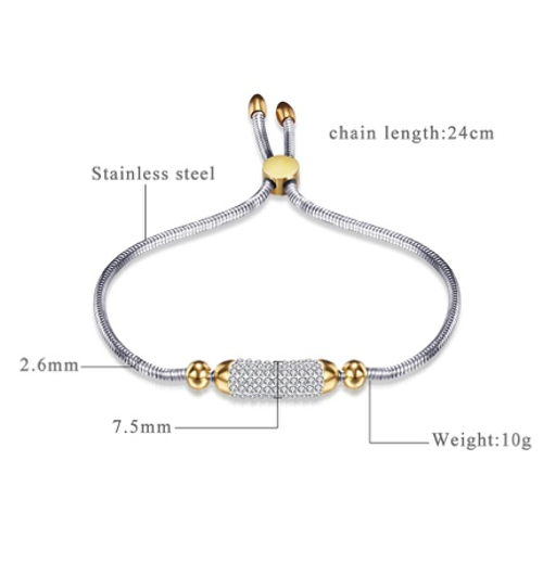 Adjustable Bar Two Tone Bracelet