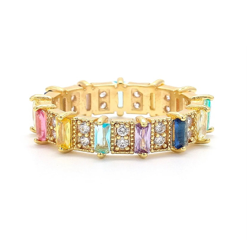 Colourful Rainbow Ring Gold