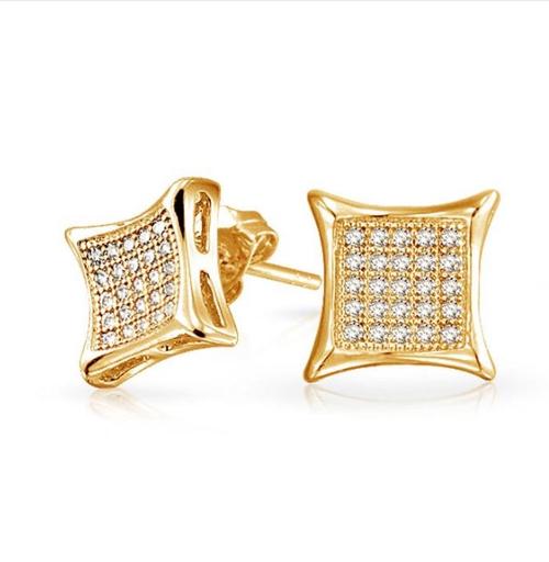 Gold Rhinestone Square Earrings