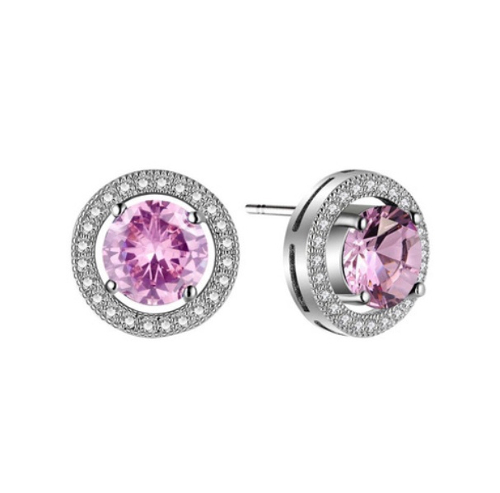 Pink Solitaire Halo Stud Earrings