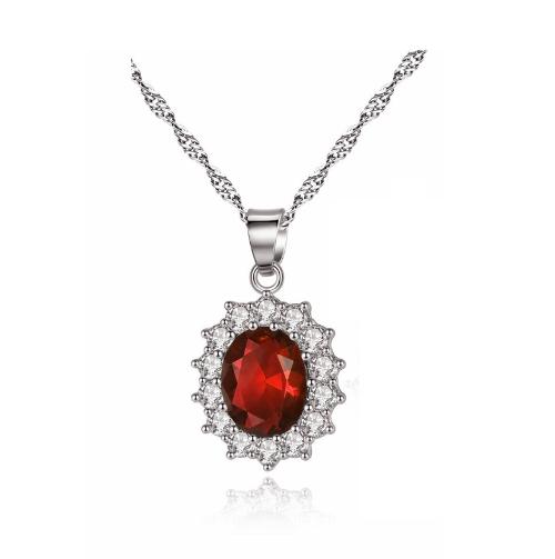 Red Elegant Crystal Flower Necklace