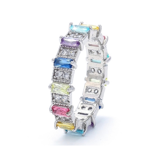 Colourful Rainbow Ring Silver
