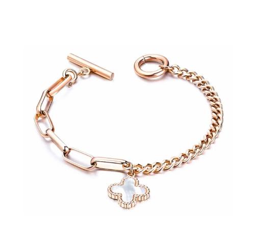 Clover Leaf Toggle Tie Bracelet Rose Gold