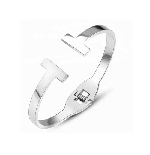 Double T Stainless Steel Cuff Bracelet
