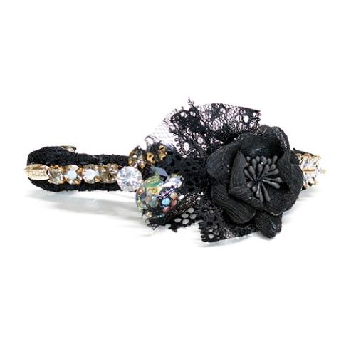 Black Lace Crystal Barrette